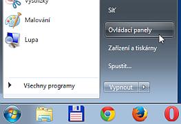 Ovládací panely v menu Windows 7