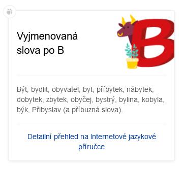 Chytrá karta - vyjmenovaná slova po b