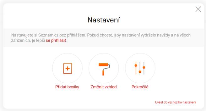 Volby nastavení domovské stránky Seznam.cz