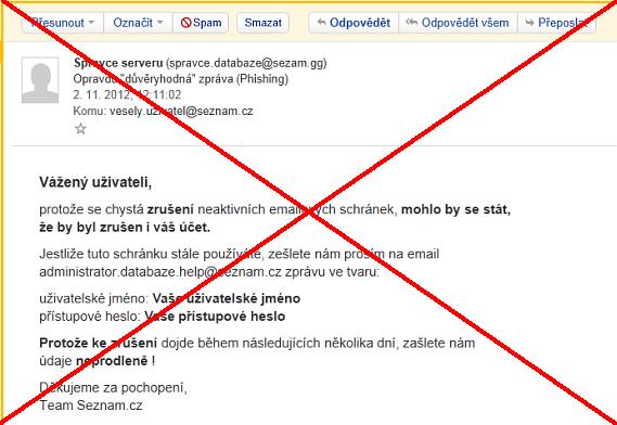 Ukázka tzv. lákačského e-mailu